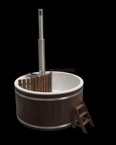 Купель композитная премиум 220х110см, дуб,с внутренней печью из нержавеющей стали, kfp220d