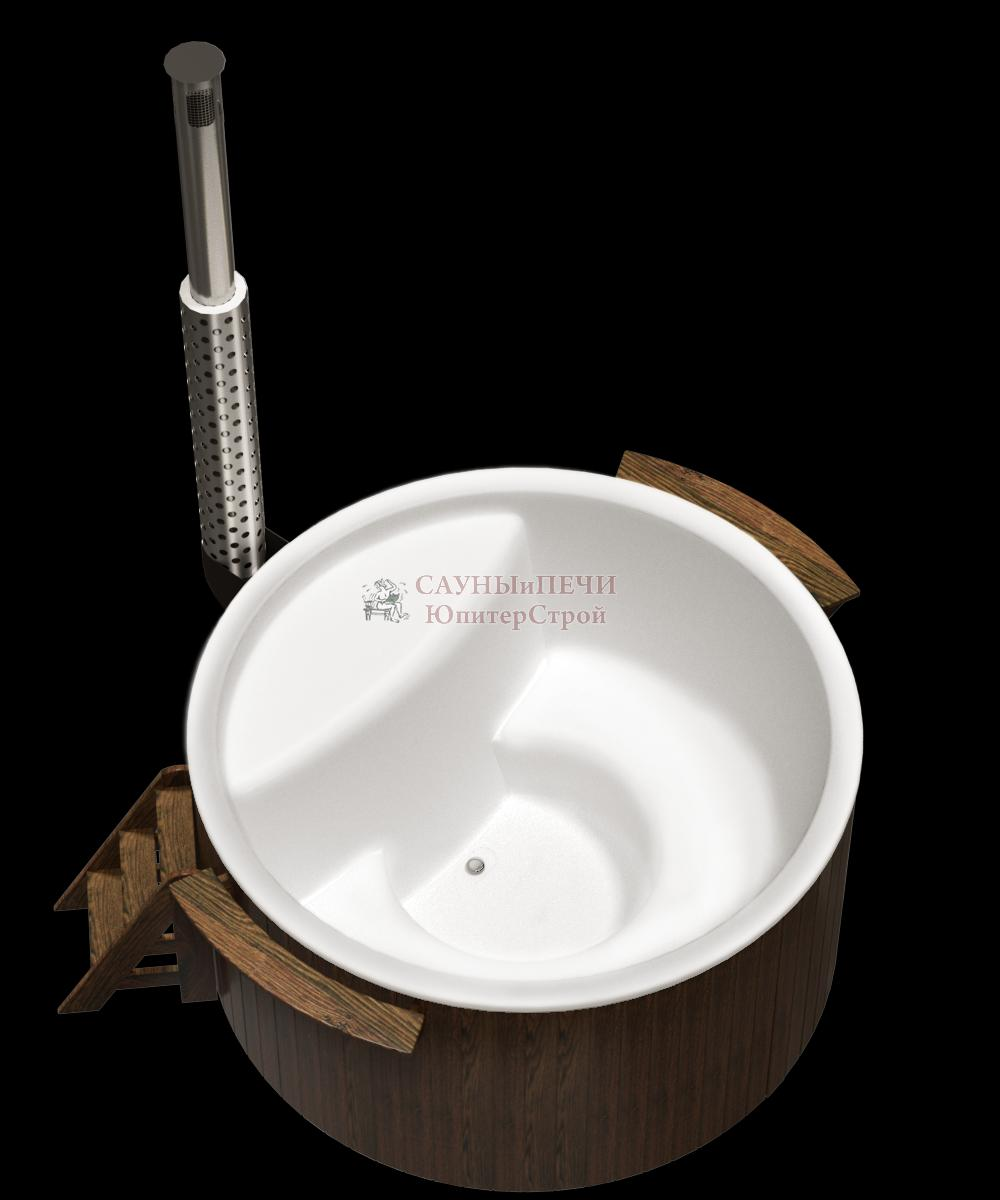Купель композитная премиум 220х110 см,сосна,с внешней печью из нержавеющей стали, kfp220s