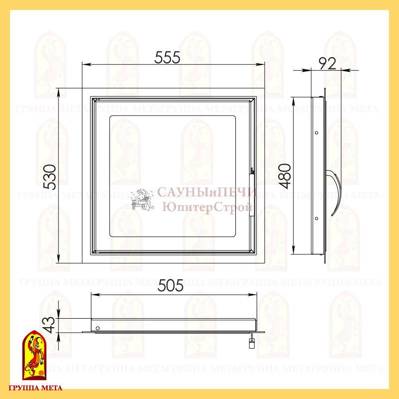 Дверка каминная ДК555-1С сталь Мета