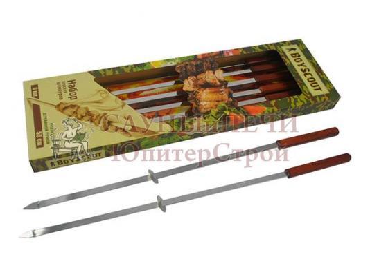 BOYSCOUT   Набор плоских шампуров 55 см с деревянными ручками с кольцами, 6 штук в упаковке / 12, 61264, Банные штучки