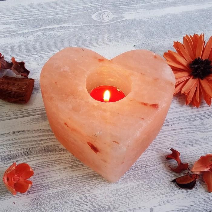Подсвечник из гималайской соли, форма Сердце, СЛ